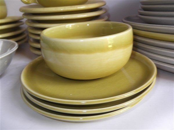Russel Wright plates; cups; saucers - 3