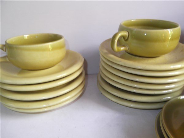 Russel Wright plates; cups; saucers - 4