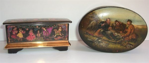 2 Russian painted covered boxes