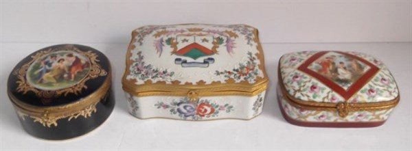 3 porcelain hand painted trinket boxes