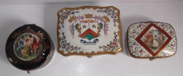 3 porcelain hand painted trinket boxes - 4