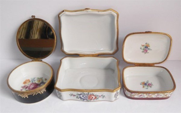 3 porcelain hand painted trinket boxes - 5