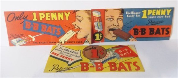 3 B-B Bats candy advertisements