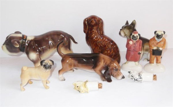 9 assorted dog figure lot