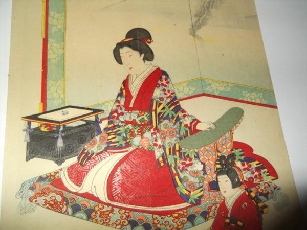 2 sets Japanese triptych woodblock prints - 2