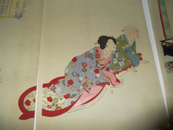 2 sets Japanese triptych woodblock prints - 3