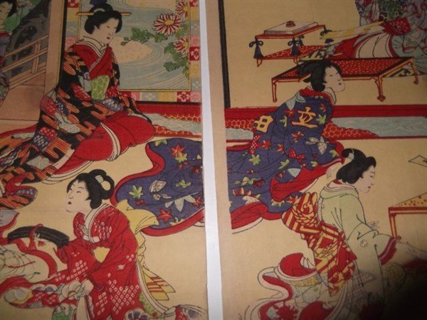 2 sets Japanese triptych woodblock prints - 6