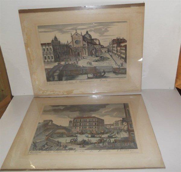 2 original 18th c. colored etchings