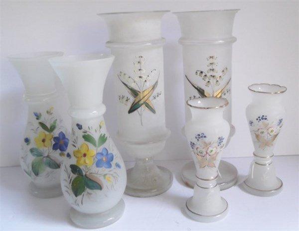 6 Victorian Bristol glass vases