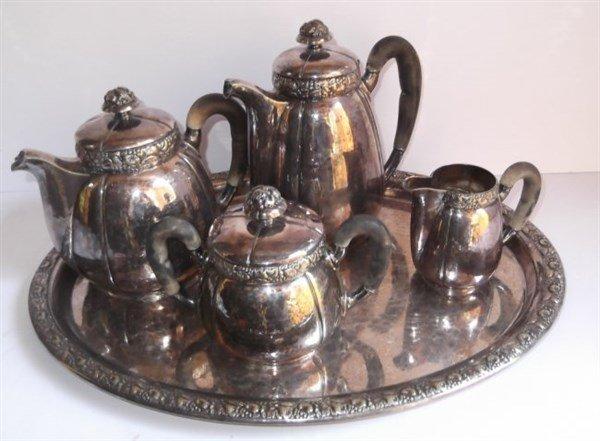 5 piece silver plate tea set