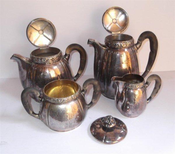 5 piece silver plate tea set - 3
