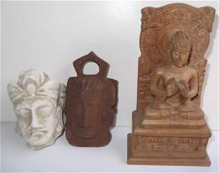 3 Asian Deity sculptures
