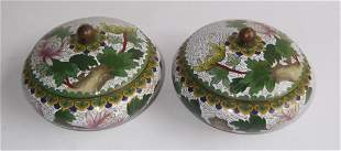 Pair of Chinese cloisonne covered boxes