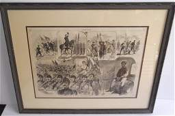 Framed Harper's weekly engraving