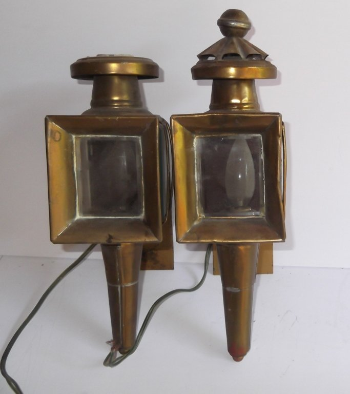 Pair of brass electrified carriage lamps