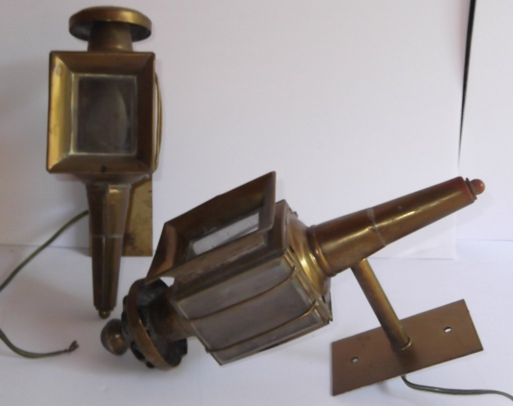 Pair of brass electrified carriage lamps - 6