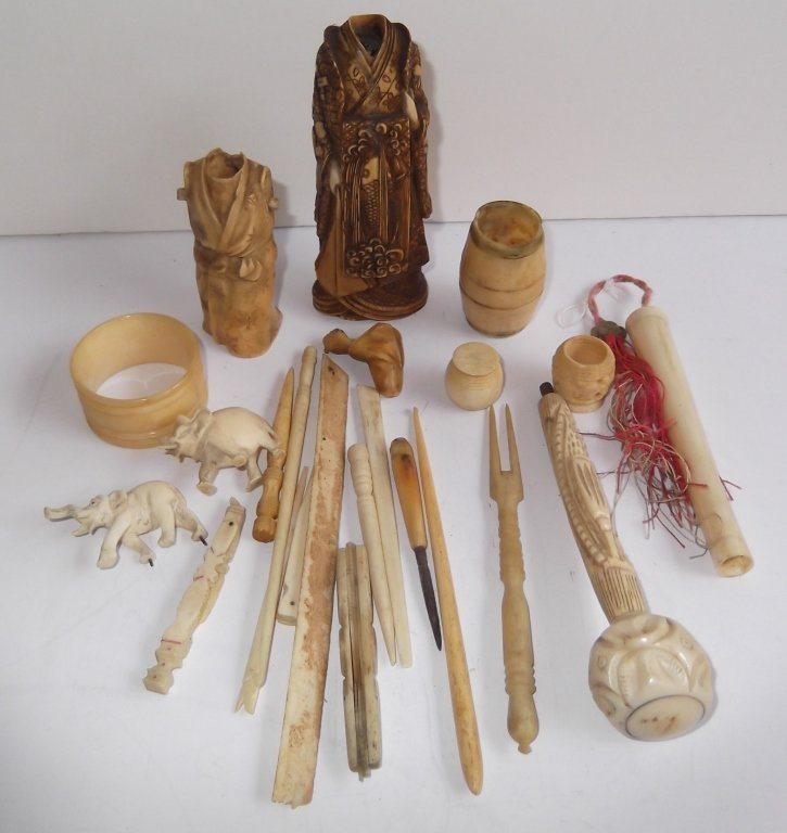 Collection of assorted bone carved items
