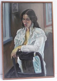 Oil on canvas woman seated portrait