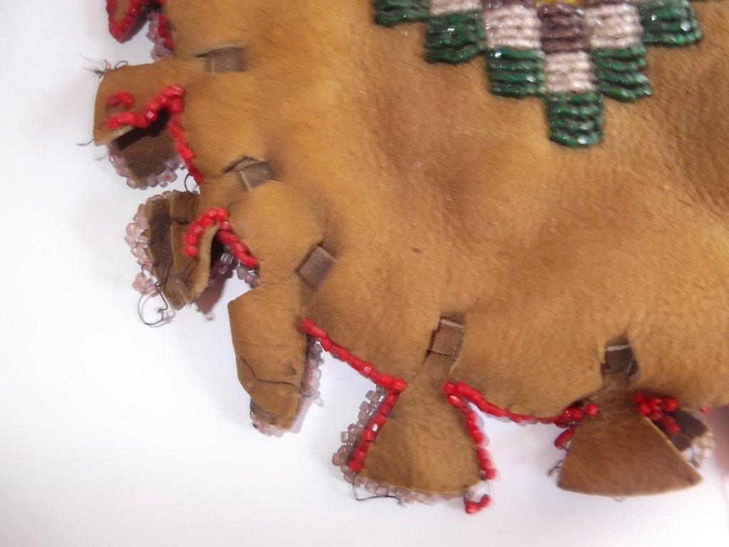 Vintage Apache beaded hide pouch - 6