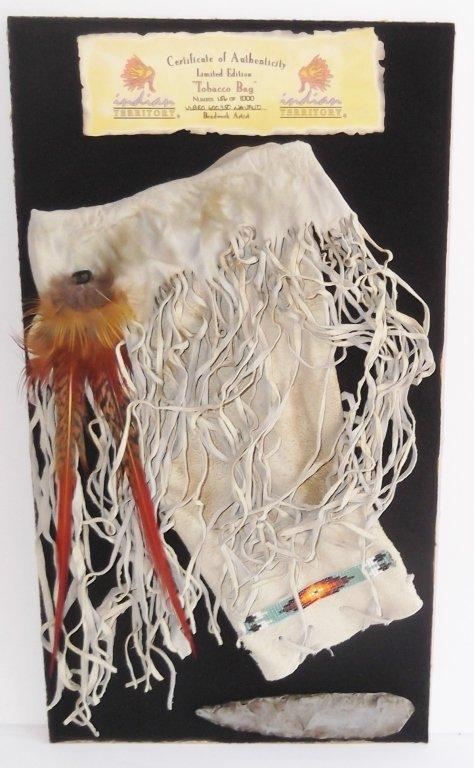 Indian tobacco bag framed