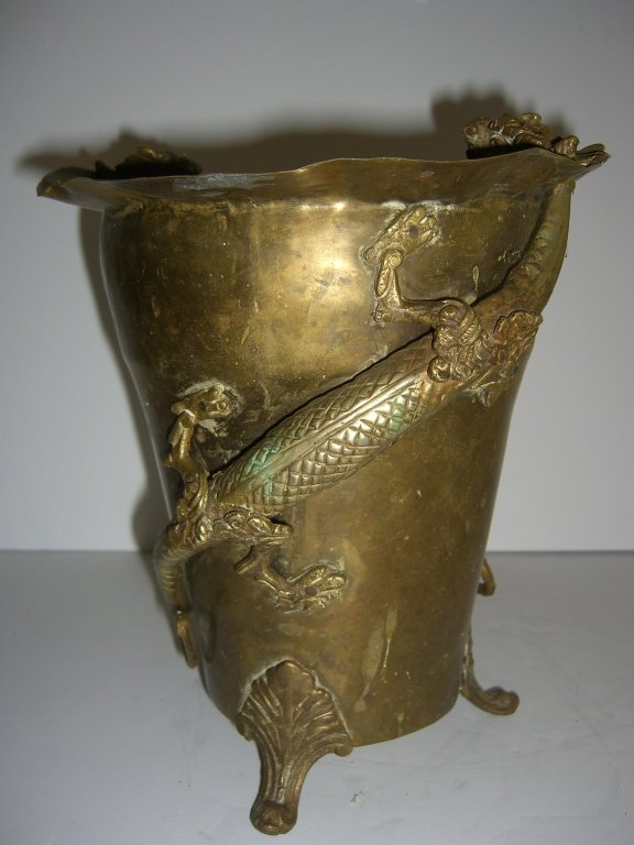 Chinese brass footed pot with dragon
