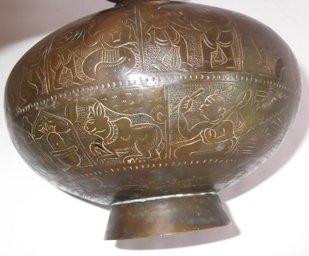 Bronze Indian etched design vase - 6
