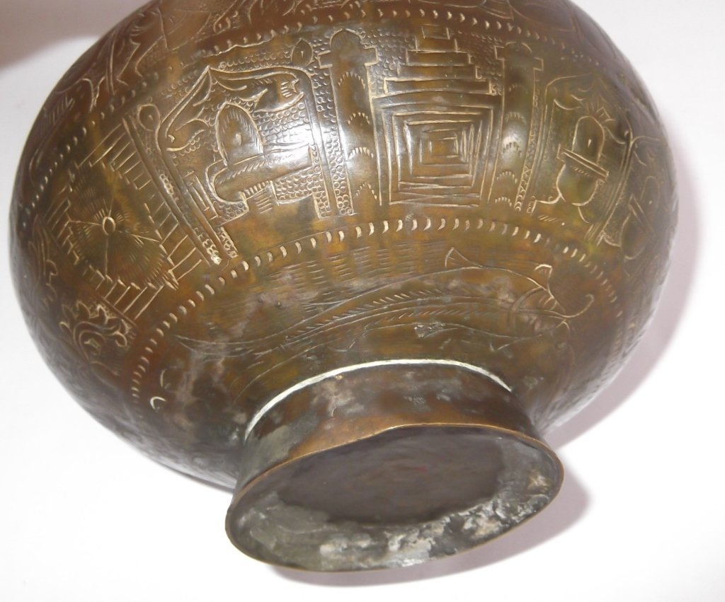 Bronze Indian etched design vase - 7