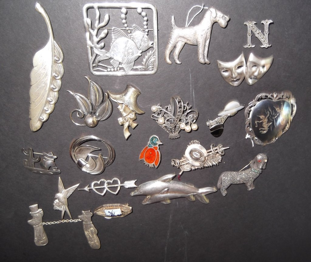 20 sterling pins/brooches