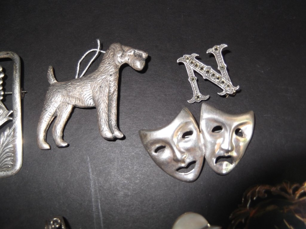 20 sterling pins/brooches - 5