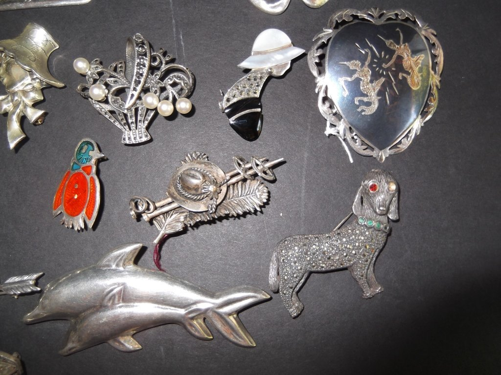 20 sterling pins/brooches - 6
