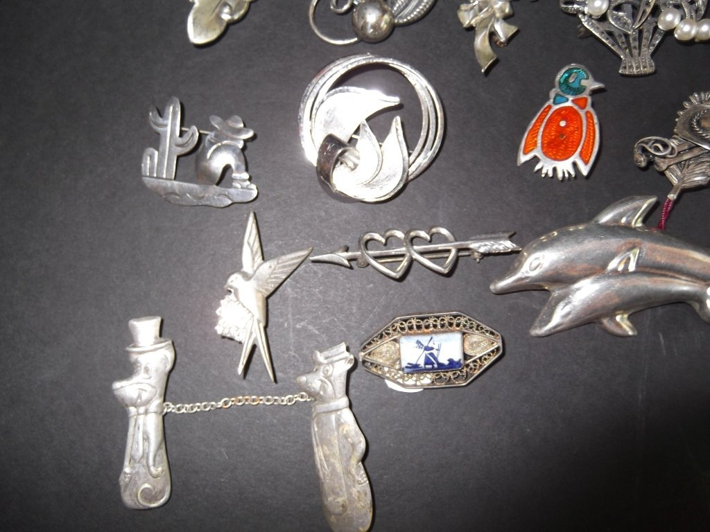 20 sterling pins/brooches - 7