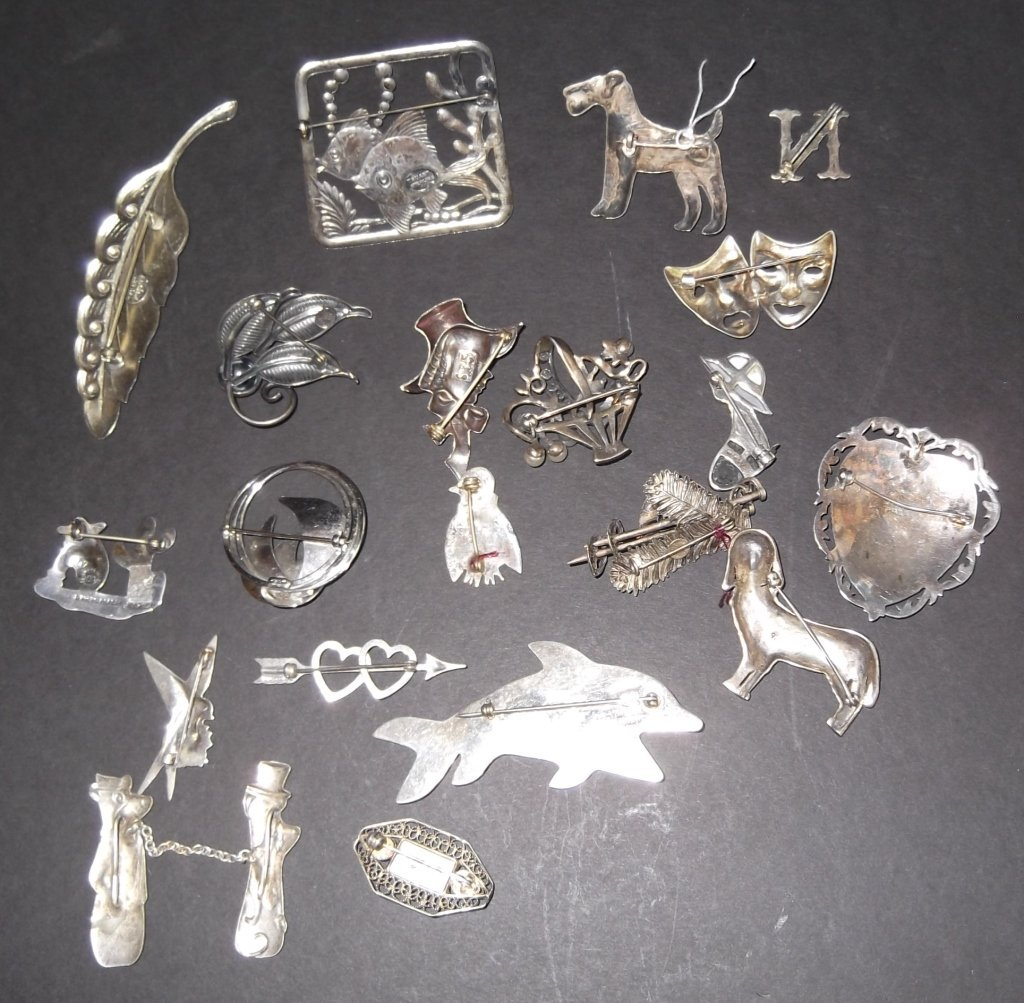 20 sterling pins/brooches - 8