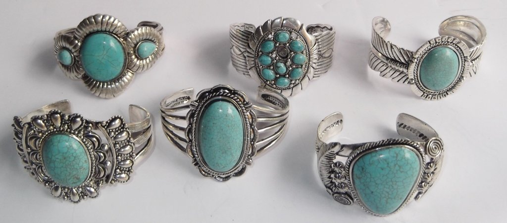 6 turquoise cuff bracelets