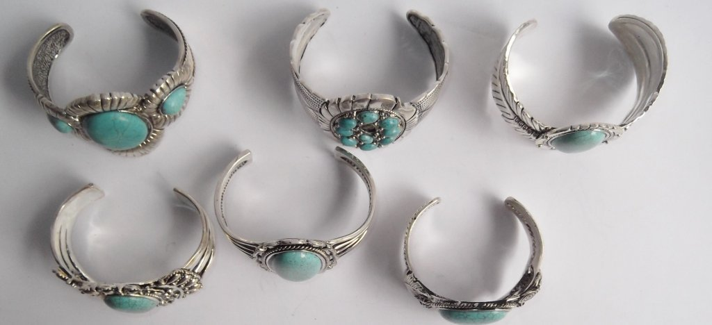 6 turquoise cuff bracelets - 5