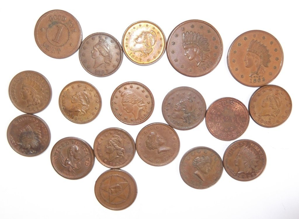 18 Civil War token coins