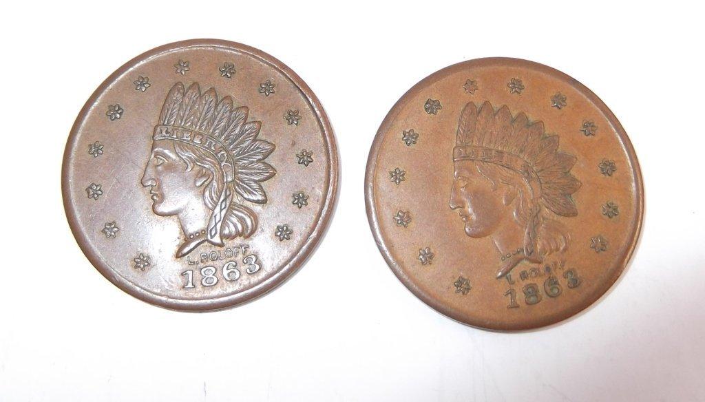 18 Civil War token coins - 2