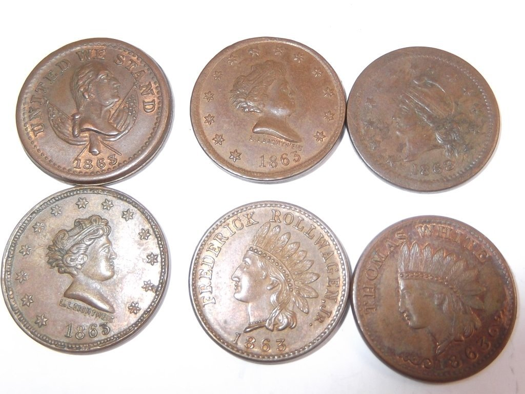 18 Civil War token coins - 6