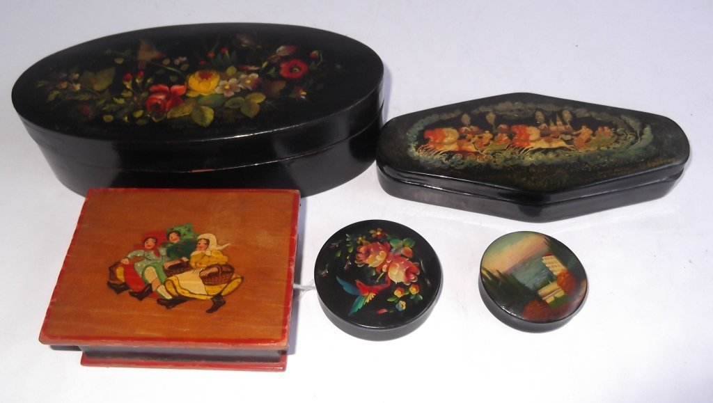 5 hand painted Russian boxes