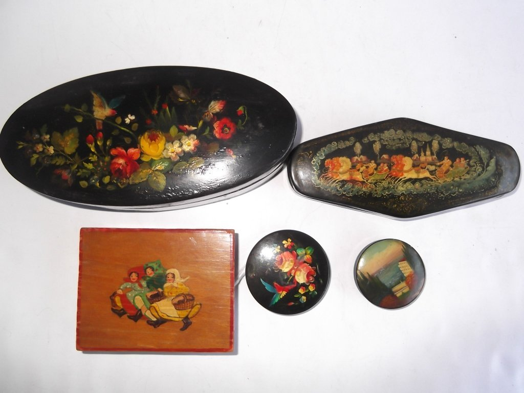 5 hand painted Russian boxes - 3