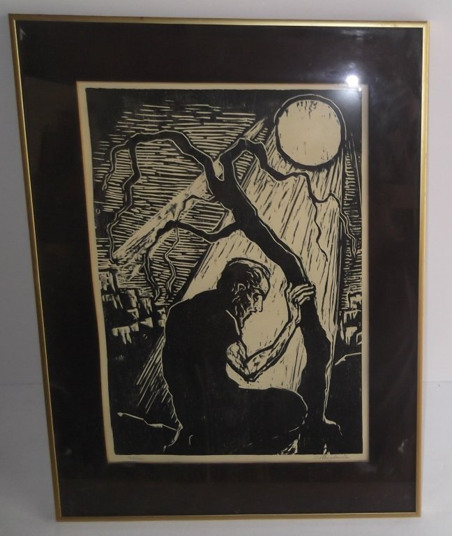 Woodblock man seated under moonlight