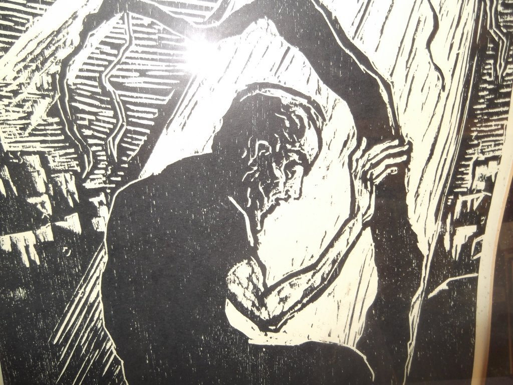 Woodblock man seated under moonlight - 4