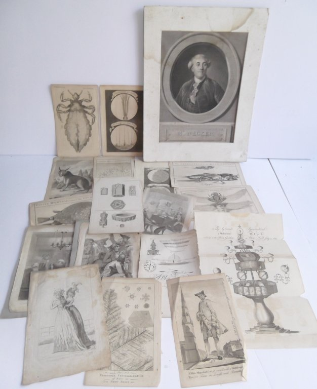 Collection of 18 antique book plate engravings