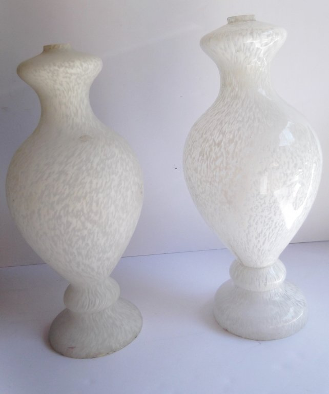2 white glass lamp bases