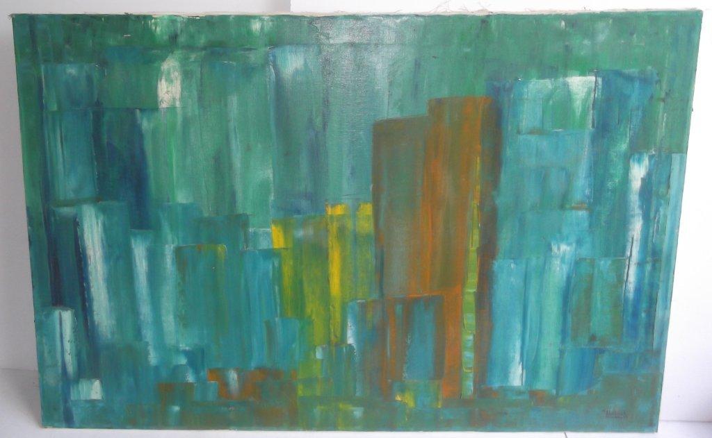 Mid-century modern abstract oil on canvas