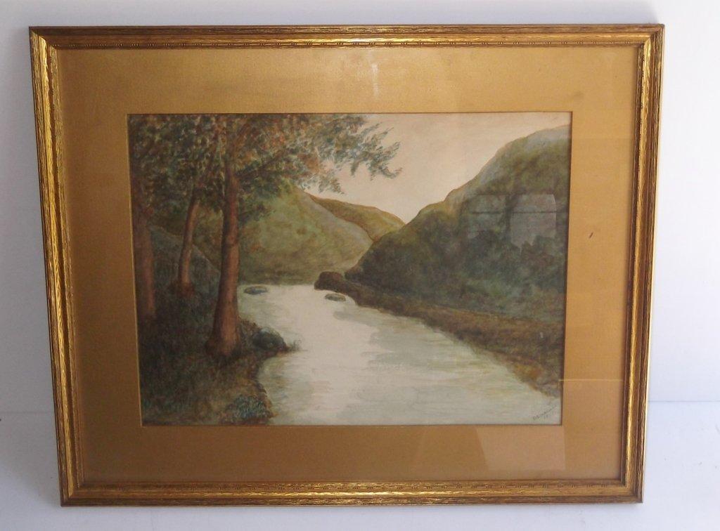 """Watercolor Watercolor titled """"Delaware water Gap"""""""