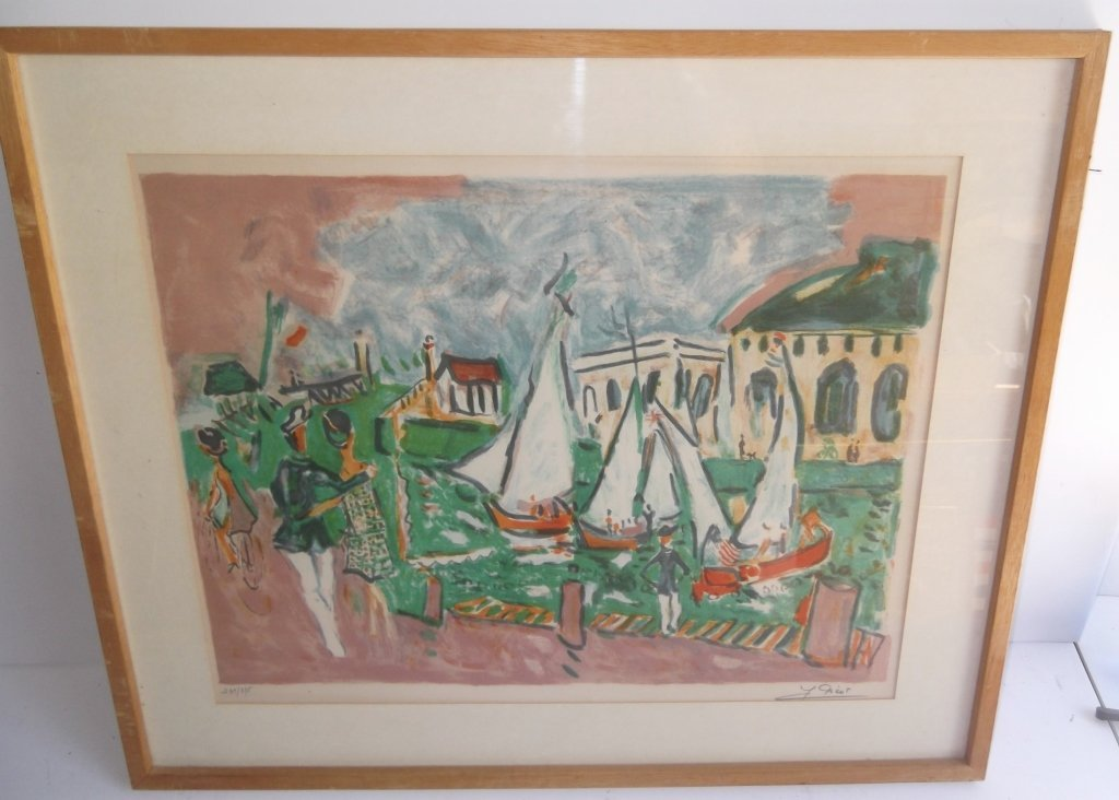 """Lithograph titled """"Seaside Cafe"""""""