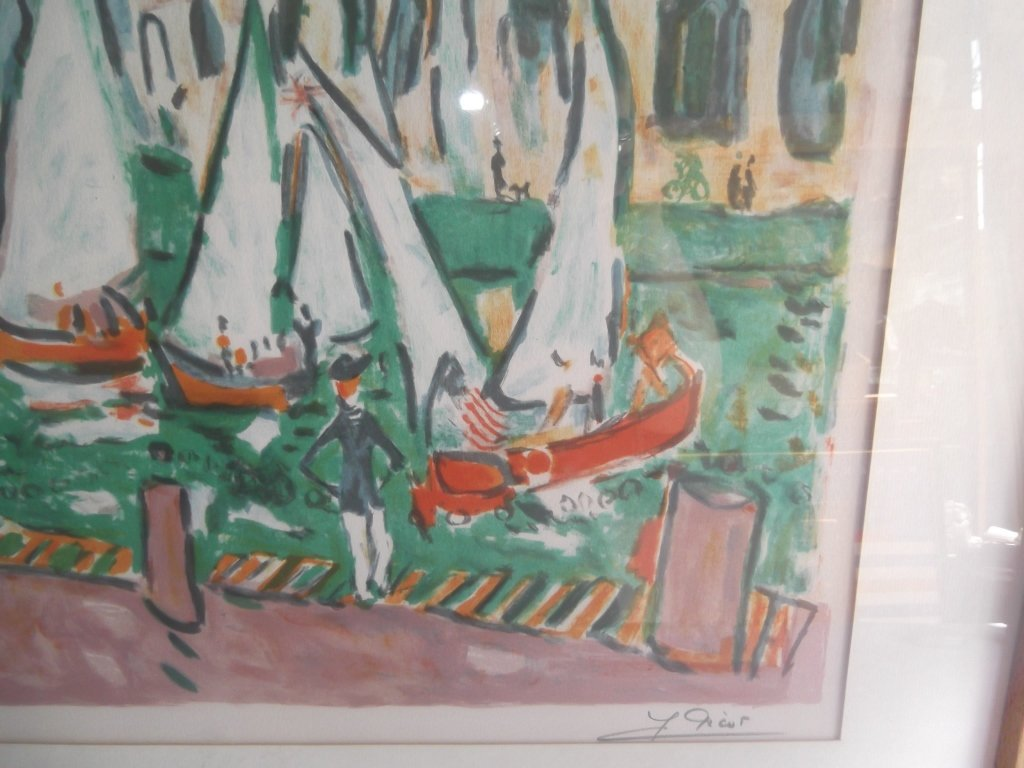 """Lithograph titled """"Seaside Cafe"""" - 5"""