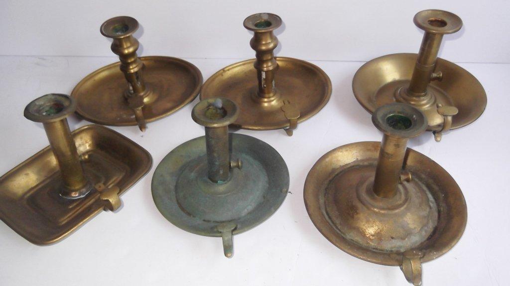 """6 brass """"hog scraper"""" candle holders"""