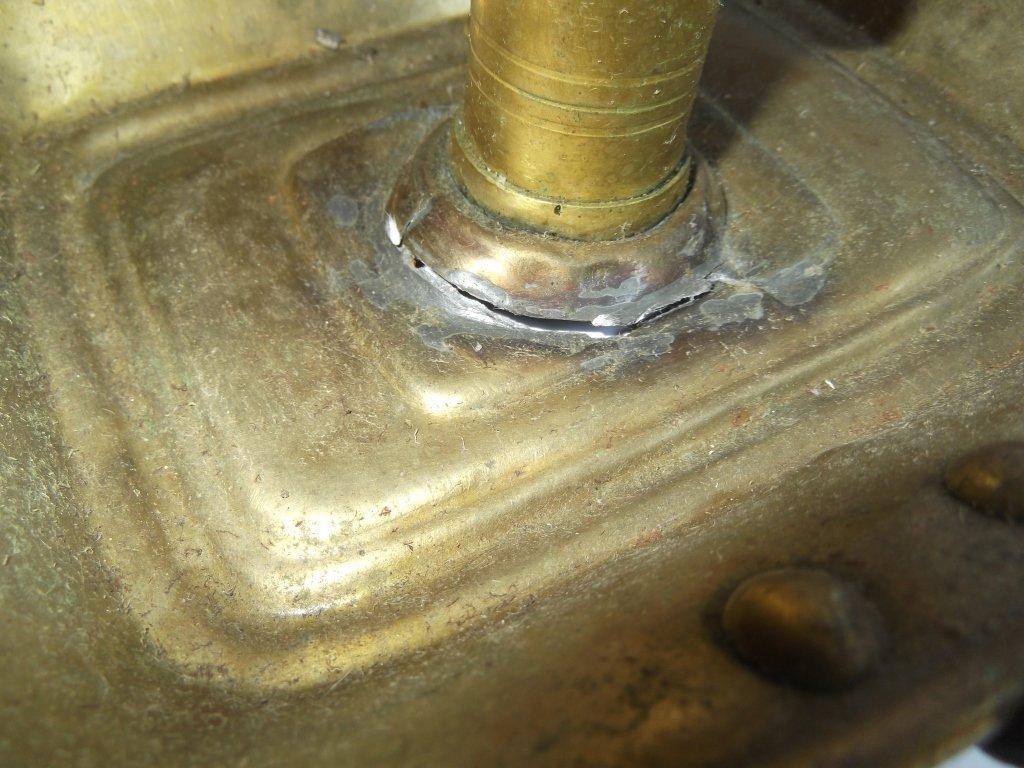 """6 brass """"hog scraper"""" candle holders - 2"""