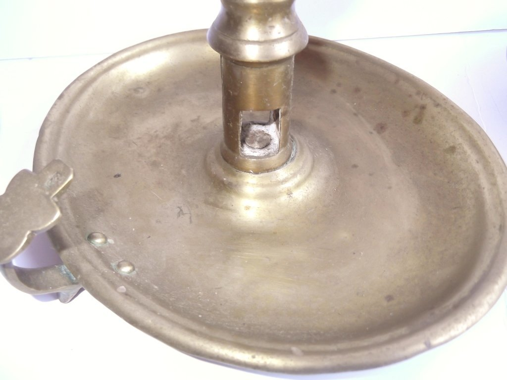 """6 brass """"hog scraper"""" candle holders - 3"""